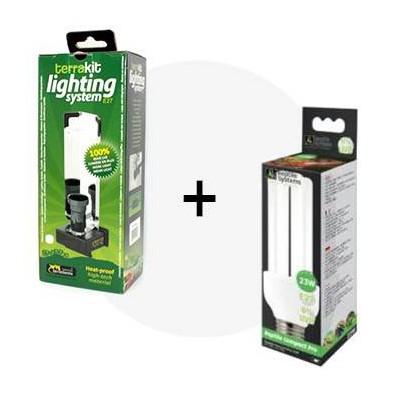 Lot UVB : Ampoule compacte à économie d'énergie + porte-lampe