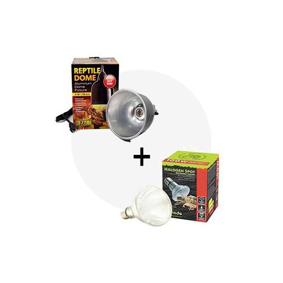 Kit lampe chauffante halogène 50W + porte-lampe avec dôme