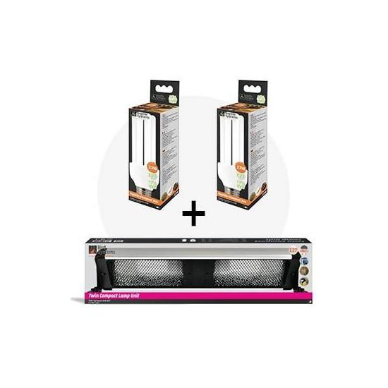 Lot UVB: Lampe UVB 12% + rampe 60cm double à réflecteur nid d'abeille